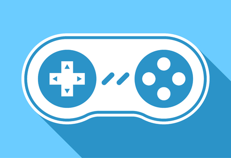 video gaming: Game pad icon or controller for video games and gaming with shadow on a blue background, vector illustration