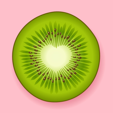 open your heart: Slice of fresh green tropical kiwifruit with a heart shaped open center with copyspace for your Valentines or anniversary greeting on a pink background depicting love vector illustration Illustration