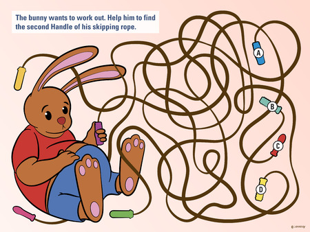 convoluted: Stimulating educational kids puzzle to help the bunny untangle his skipping rope from three others so that he can do his daily exercise and workout, cute vector cartoon illustration