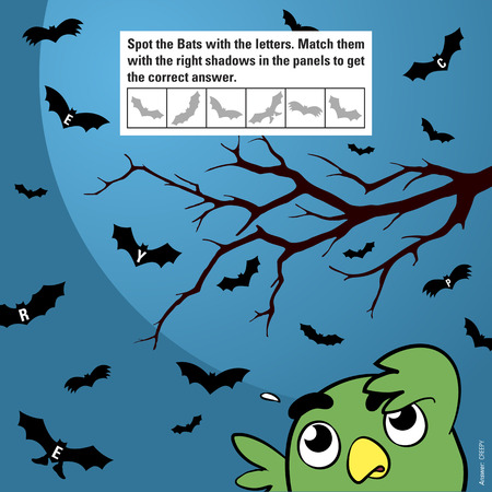 stimulation: Educational game for children meant to stimulate attention through matching shadows of halloween cartoon bats flying in the moonlight being watched by a funny owl, vector illustration