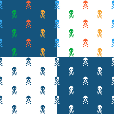 marauder: Skull and crossbones repeat seamless background pattern in square format with four different designs including blue and white and multicolored icons, vector pattern for print or textile