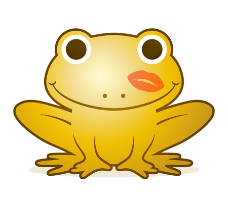 Cute gold cartoon frog with a happy beaming smile and a lipstick kiss on its cheek, conceptual of the fairytale of the prince Stock Photo