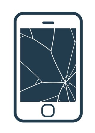 shattered glass: Mobile phone icon with smashed screen showing shattered glass on a blank screen, simple vector illustration