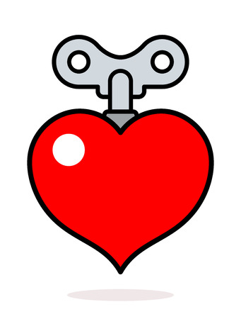 Colorful cartoon red heart icon with a metal winder key as a design element isolated on white for romantic and love themed concepts, vector illustration