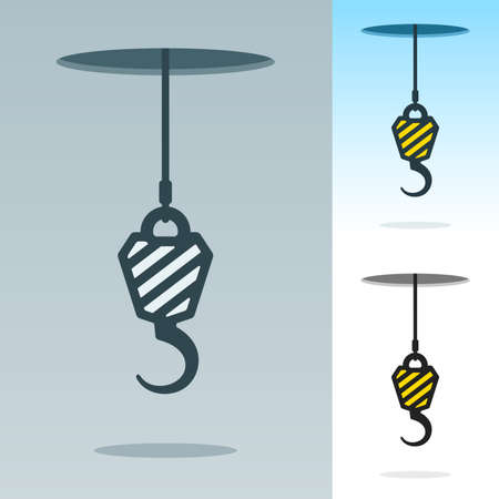 heavy duty: A heavy duty hook suspended on a cable hanging through a hole in the sky in three color variations, vector silhouette illustration with striped design Stock Photo