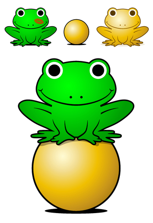 Smiling green frog balancing on a golden ball with a gold color variant and one with lipstick kiss on its cheek, conceptual of the fairytale of the prince