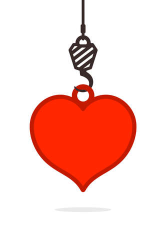 Suspended heavy duty hook on a cable lifting a red heart conceptual of love and romance, simple vector illustration design element Stock Photo
