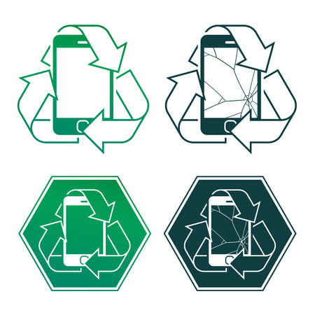 reprocess: Mobile phone encircled by a recycling icon in four different designs, two with cracked screens, vector design element illustration