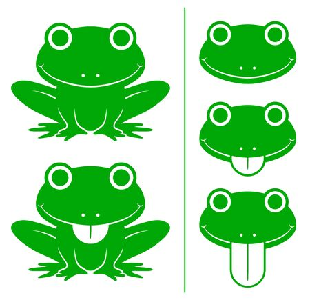 protruding: Set of adorable smiling happy green cartoon frogs with head variations showing the tongue sticking out, vector illustration on white