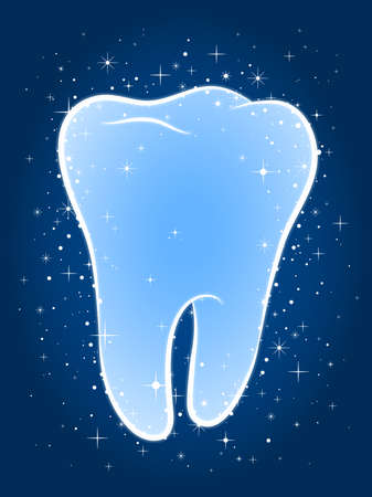 blue tooth: Sparkling clean blue tooth surrounded with twinkling stars in a concept of dental hygiene and care, vector illustration