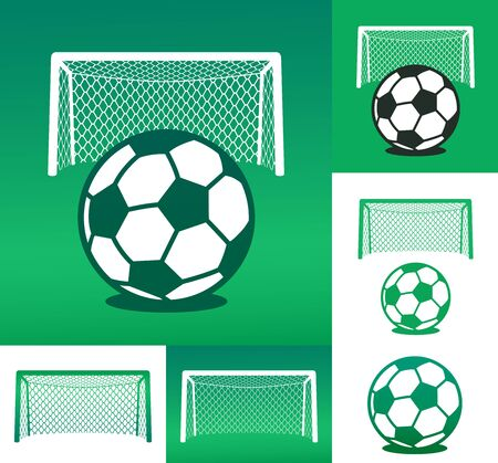 goal net: Graphic advertising design elements composed of soccer ball with goal net against both a white and green background