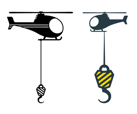 heavy duty: Two heavy duty hooks suspended from choppers or helicopters in different designs with striped chevrons, vector silhouette illustrations on white