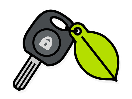 Car key with a colorful green leaf tag attached by a small ring and a lock icon on the key, cartoon vector illustration on white