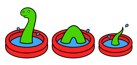 wading: Fun bright red cartoon kids wading pool in three sections with a green Lochness monster swimming in the water, vector illustration