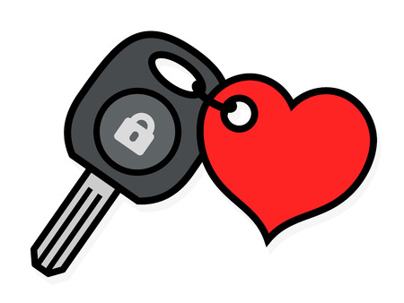 Car ignition key with an attached red heart shaped tag symbolic of love and romance and lock icon isolated on white, vector outline illustration Illustration