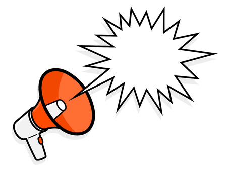 spiky: Cartoon colorful red megaphone with spiky speech bubble to show a loud amplified voice shouting , vector illustration Illustration