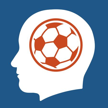 Vector avatar of human head with profile view and soccer ball in French flag colors of blue, white and red