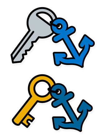 Isolated gray and gold metal standard keys attached to blue anchor badge symbols over white background
