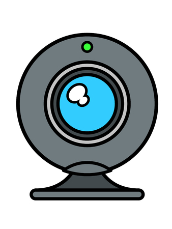 status: Single isolated web cam front view with blue lens and green status light on top over white background, vector