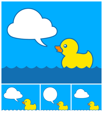 floating in water: Cute little yellow cartoon rubber duck with cloud speech bubble floating on blue water with four different variations, vector illustration Illustration