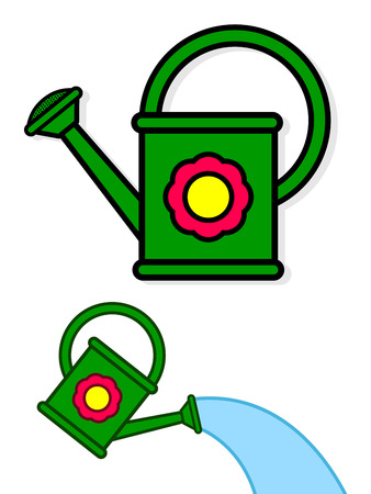 spout: Two colorful green cartoon watering cans with floral decoration, one pouring a spray of water from the spout, vector illustration