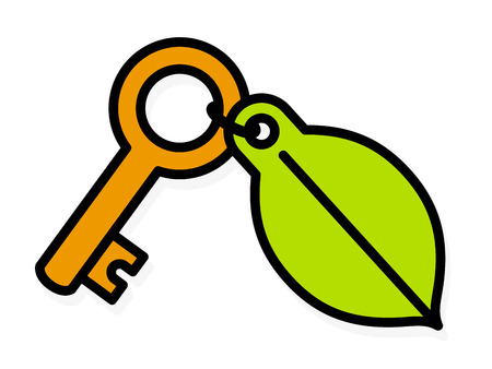 Brass key with a colorful green environment leaf tag attached by a small ring and a lock icon, cartoon vector illustration on white Illustration