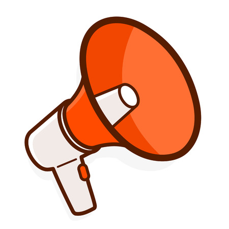 amplify: Colorful red megaphone or bullhorn for amplifying the voice for protests rallies or public speaking isolated on white, vector illustration