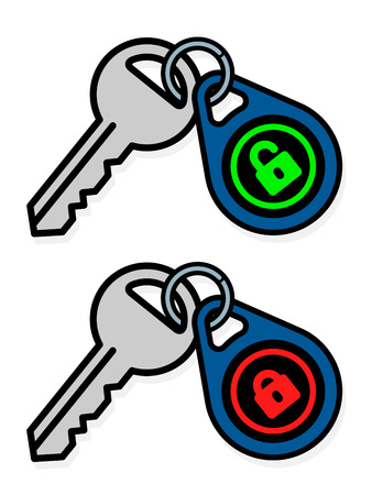 keys isolated: Isolated gray metal keys attached to blue, red and green tag badges over white background Illustration