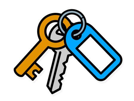 attached: Bunch of two metal house keys, one small brass key and one front door key, on a ring attached to a blue plastic tag with blank copy space, vector illustration Illustration