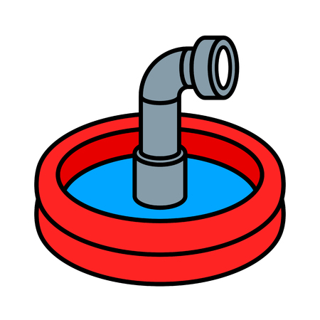 submerged: Circular red wading pool with cute little steel periscope peeking up through the blue water Illustration