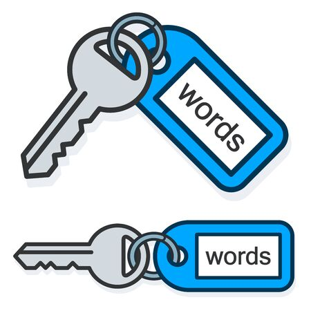 keywording: Keywords concept of metallic keys connected to tag with the same name text over white background