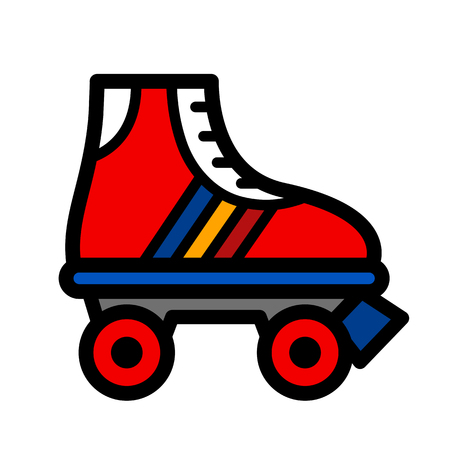 Colorful single roller skate cartoon illustration in a trendy seventies color palette, vector icon isolated on white