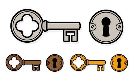 trio: Vintage style cartoon key with lock and round escutcheon in three different colors for brass, bronze and silver or steel , isolated on white