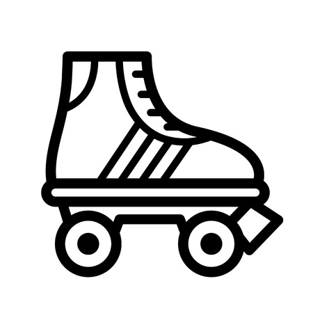 Black outline single roller skate cartoon illustration seventies, vector icon isolated on white Illustration
