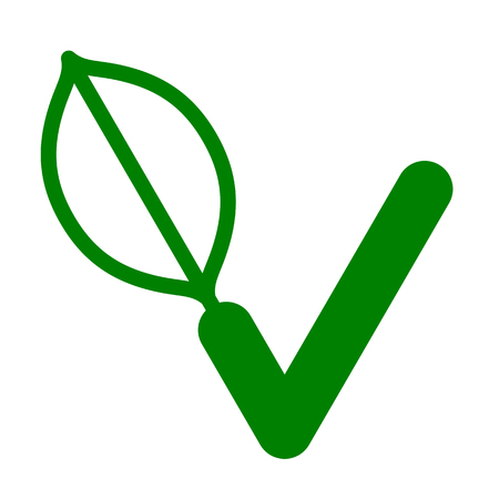 compliant: Green Vegan logo or icon with a check mark to guarantee the compliance of the food with the vegan diet Illustration