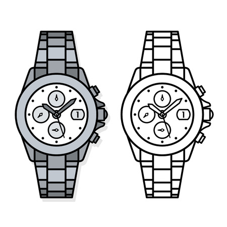 Two outline vector drawings of wristwatches, one black and white, one grey, with four dials , knobs and minute and hour hands, vector illustration