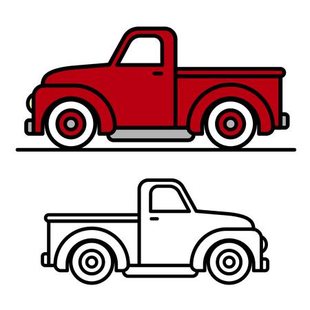 camioneta pick up: Dos de dibujos animados dibujos de época camión de recogida de esquema, uno rojo y otro blanco y negro, en vista lateral, ilustración vectorial