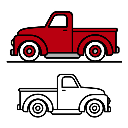 Two cartoon vintage pick-up truck outline drawings, one red and one black and white, in side view, vector illustration Stock Illustratie