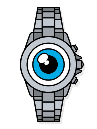 Single staring wide blue eye on face of single metal wristwatch smart watch vector over white background Illustration