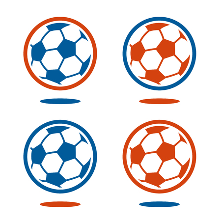 midair: Set of four blue and red soccer ball icons with little set down shadow for effect as if to be floating in mid-air
