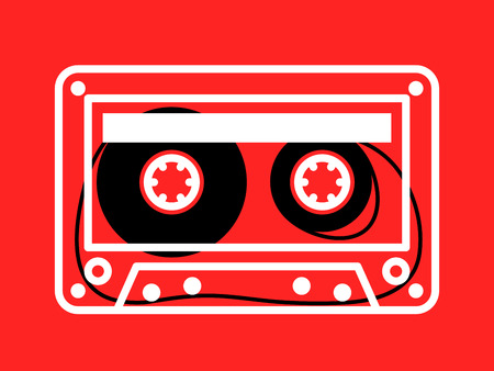 spindles: Single clear white outlined cassette vector with loose recording tape on spindles over red background