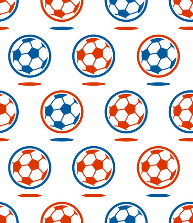red white and blue: Seamless soccer vector ball pattern in red and blue French flag colors over white for sports theme background
