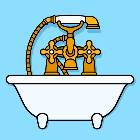 elegantly: Front view on elegantly designed vector graphic of brass bathtub faucet with shower head over little ivory tub on blue background