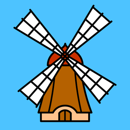 Colorful cartoon wooden windmill icon with four sails in a color outline on a blue background vector design for kids Illustration