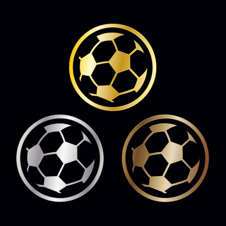 prize winner: Three winners awards for the soccer or football championships with outlined balls in gold, silver and bronze for first second and third placements, vector illustration Illustration
