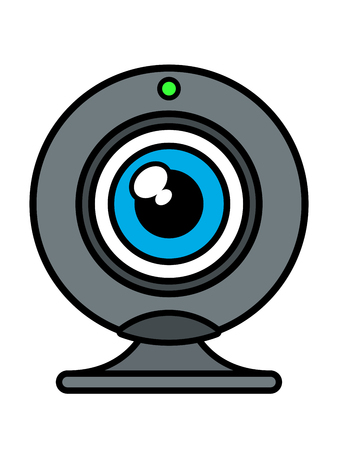 photo real: Single isolated web cam front view with blue eye iris and green status light on top over white background, vector