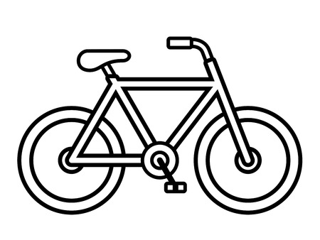 Bicycle outline drawing viewed from the side isolated over white, vector illustration Ilustração
