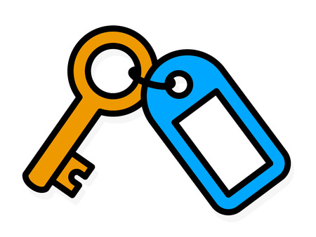 Simple colored outline vector drawing of a brass metal house front door key with a blue plastic tag with blank copy space