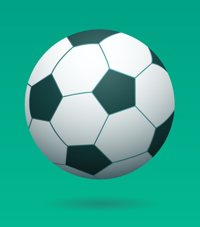 suspend: Black and White Soccer Football Game Ball Floating and Casting Shadow Below on Bright Green Colorful Studio Background with Copy Space vector Illustration