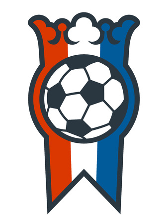 football world cup: Soccer ball medal and crest in French colors of red white and blue with a crown over a ball for the football World Cup winners, isolated vector illustration